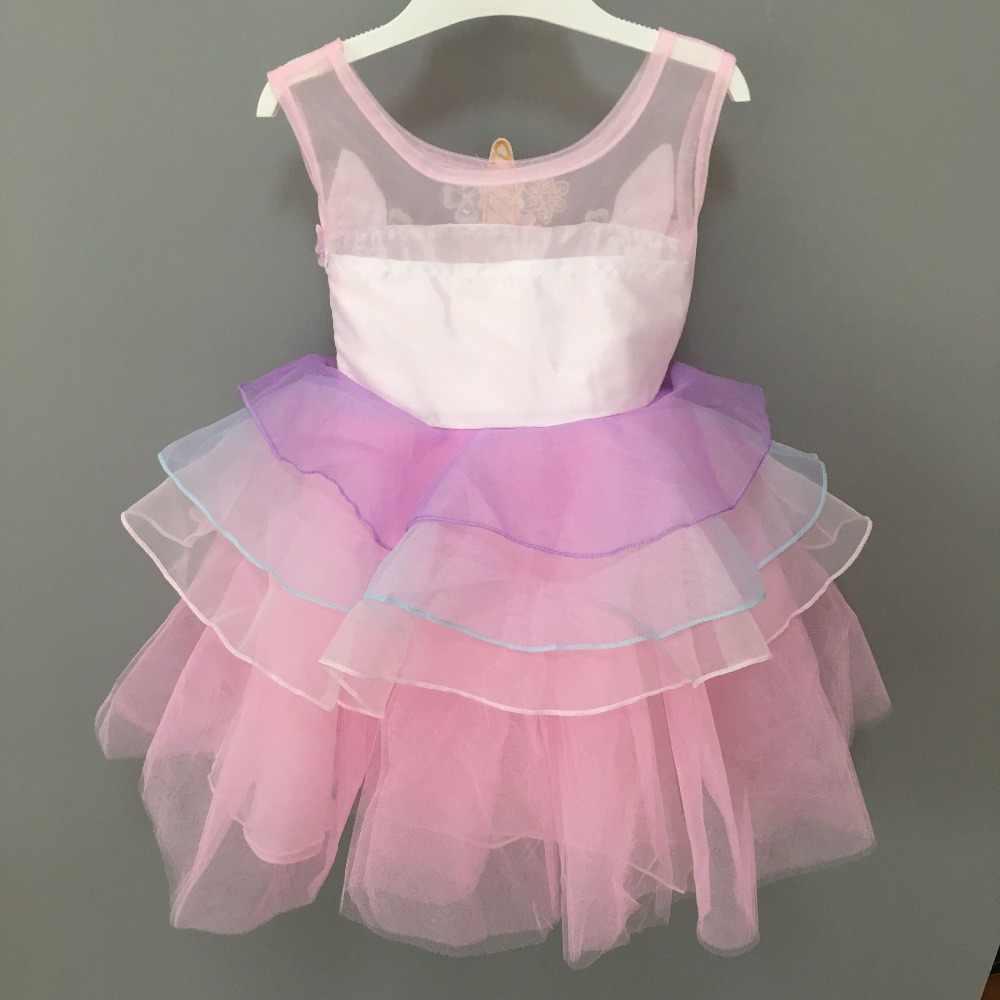 New fashion infantile del bambino ragazze vestito da partito unicorno bello capretti del bambino del fiore del ricamo dell'abito di sfera del costume di cosplay