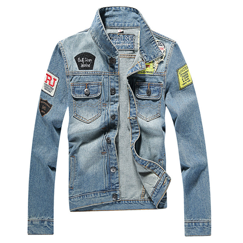 Destroyed Jeans Flight Jacket Men Ripped Denim Jean Jackets Hip Hop Overcoats Casual Streetwear