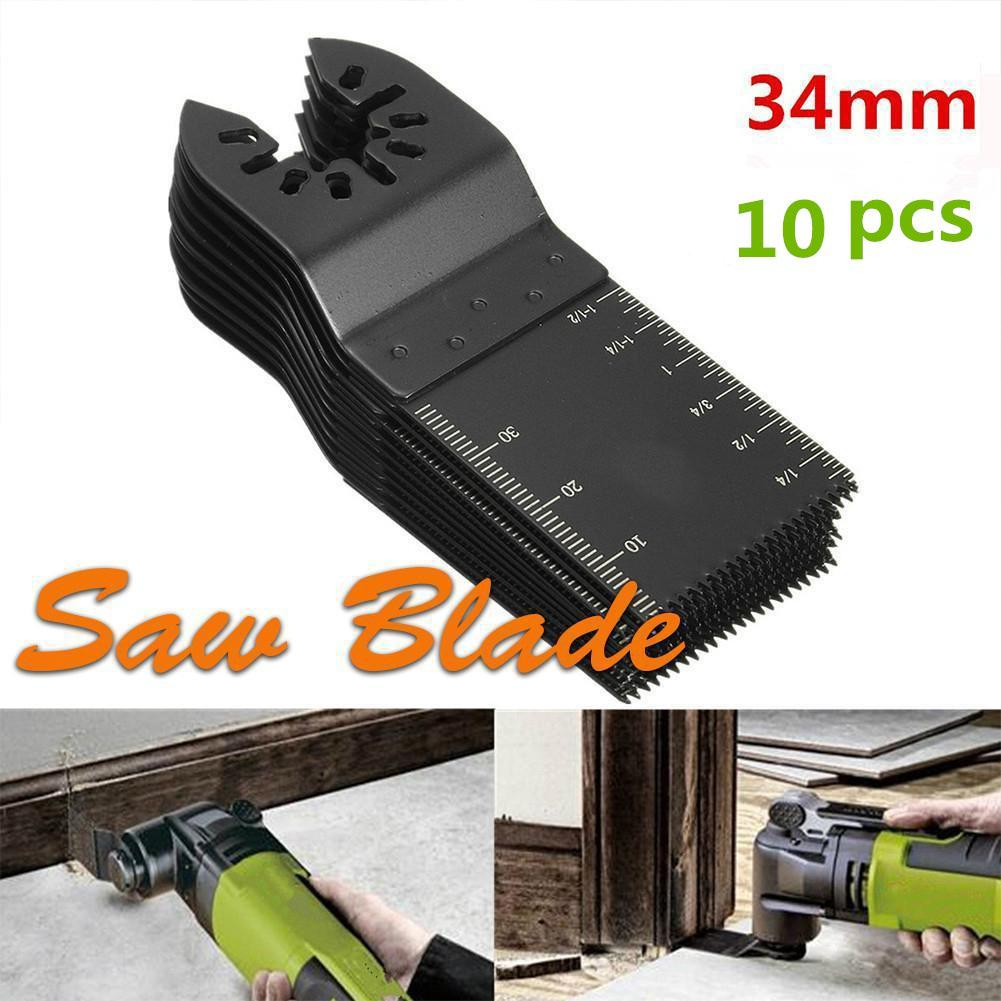 10pcs 34mm Universal Saw Blade Set Straight Scale Oscillating Multi Tools For Fein Multimaster Power Tools Wood Saw Blades