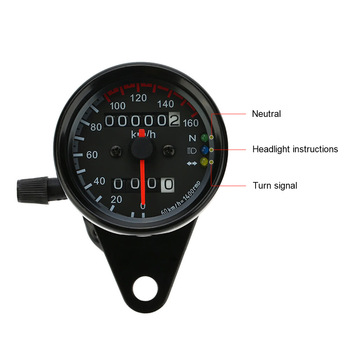 Hot 12V Motorcycle 13000 RPM Tachometer Km/h Speedometer Dual Odometer Gauge with LED Backlight Signal Lights