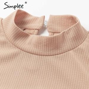 Image 5 - Simplee אלגנטי לפרוע נשים שמלת גולף שרוול פנס נשי slim המפלגה שמלה מזדמן גבירותיי עבודה ללבוש סתיו חורף שמלה