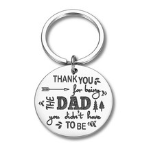 Fathers Day Gifts for Dad Stepfather Birthday Gifts Keychain for Step Daddy Thank You