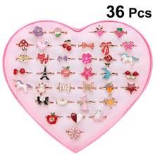 36 pçs dos desenhos animados anéis de liga colorido adorável ajustável festa jóias presentes festa favores brinquedos para crianças crianças meninas dedo anéis
