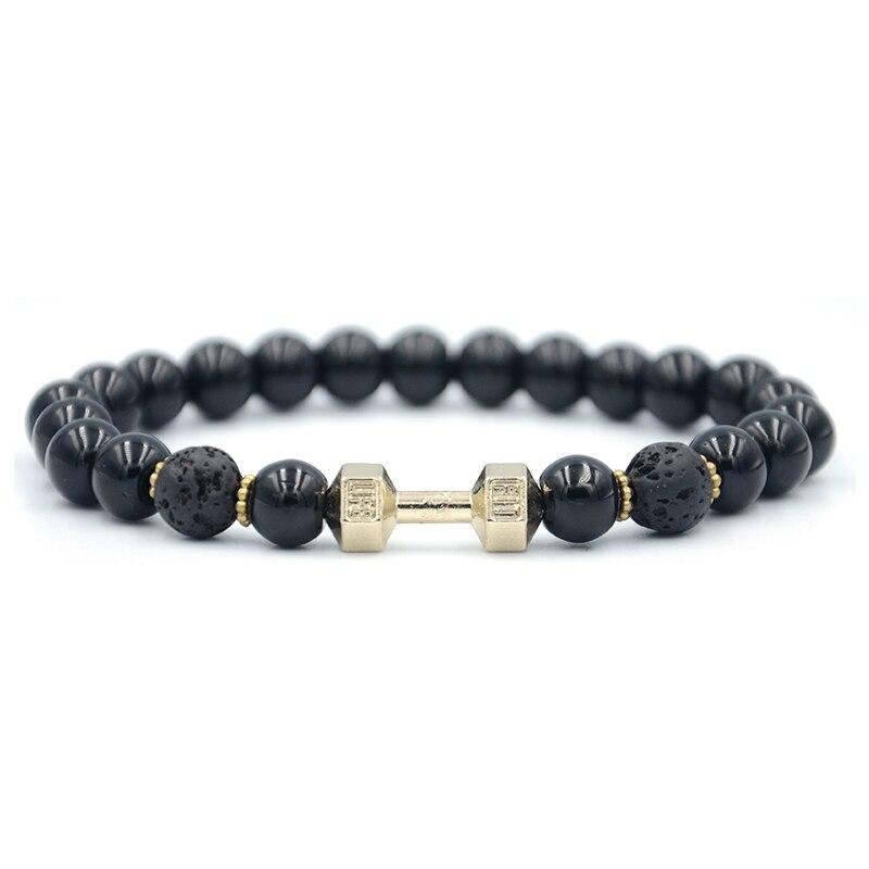 Junwei Natural Stone Alloy Barbell Bracelet Men's Fitness Black Bracelet Jewelry