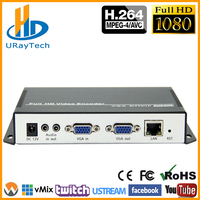 MPEG 4 H.264 /AVC VGA + Stereo Audio Streaming IP Encoder Hardware Live Video Audio Transmitter For Live Streaming, RTMP Server