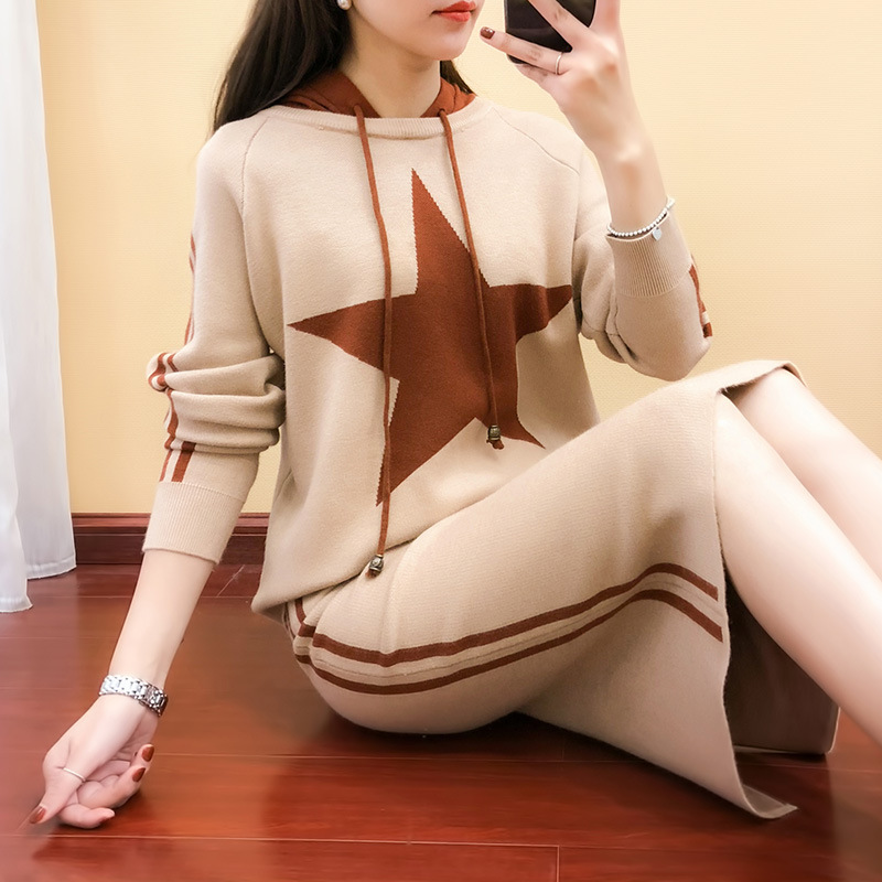 2019 Spring New Style Hooded Dress WOMEN'S Suit Five-pointed Star Mixed Colors Sweater High-waisted Sheath Skirt Two-Piece Set