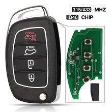 Jingyuqin 4B 315/433 MHz z chipem ID46 zdalny kluczyk do Hyundai IX35 i20 klucz sterujący z ostrzem