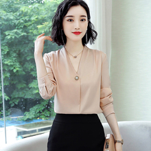 Korean Silk Women Blouses Elegant Women Satin Blouse Long Sleeve Shirts Woman V-neck White Shirt Plus Size Blusas Mujer De Moda