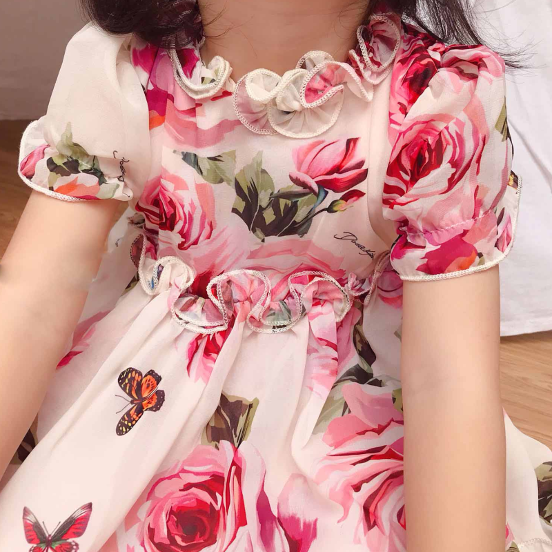 Menina vestido de princesa chiffon 3d rosa puff manga infantil criança verão flor tule festa casamento pageant roupas do bebê