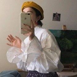 Camisa blanca para mujer primavera y otoño 2020 nuevo estilo coreano sentido del diseño no convencionales Retro trompeta manga larga Base