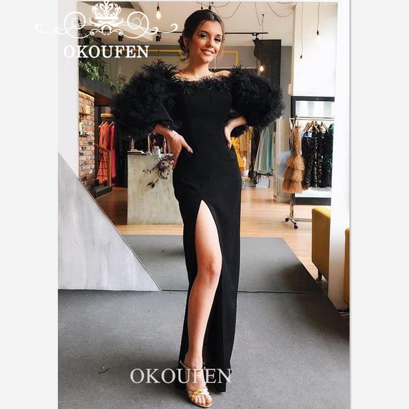 Luxury Feather Black Formal Evening Dress With 3/4 Long Sleeves Side Split Sheath Prom Dresses Party For Women Robe De Soiree