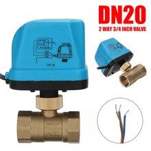 """คุณภาพสูง Miniature ไฟฟ้าวาล์วทองเหลือง G3/4 """"DN20 3/4 นิ้วสอง 220V ควบคุมมอเตอร์วาล์วน้ำ"""