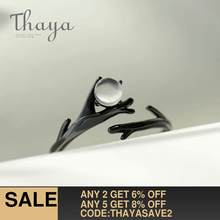 Thaya Original Moonlight Forest Design Finger Ring Moonstone Gemstone s925 Silver Black Branch Ring for Women Elegant Jewelry(China)