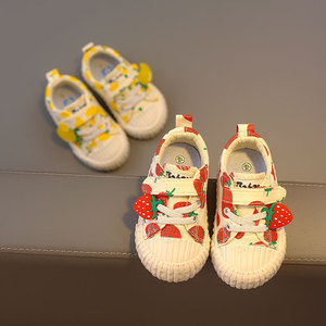 Image 4 - 아기 신발 1 3 세 소프트 솔리드 캔버스 신발 딸기 신발 유아 신발 소녀 신발 2019 가을 새로운