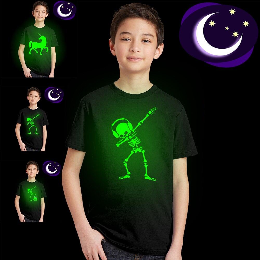 Dabbing Skeleton Dancing Skull Hip Hop Halloween Kids Luminous Shirt Funny Children Unisex Short Sleeve Noctilucent T-shirts