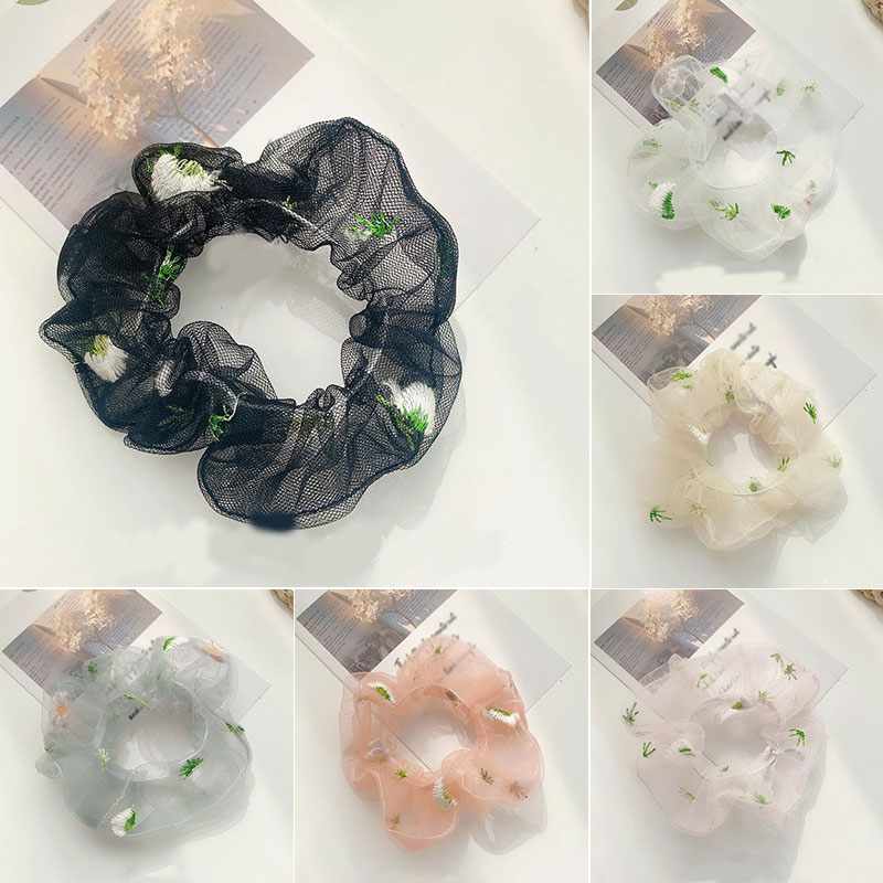 Transparent Mesh Hair Bands Scrunchies Daisy Embroidered Hair Ropes Rubber Bands Women Hair Accessories Ponytail Holder Headwear