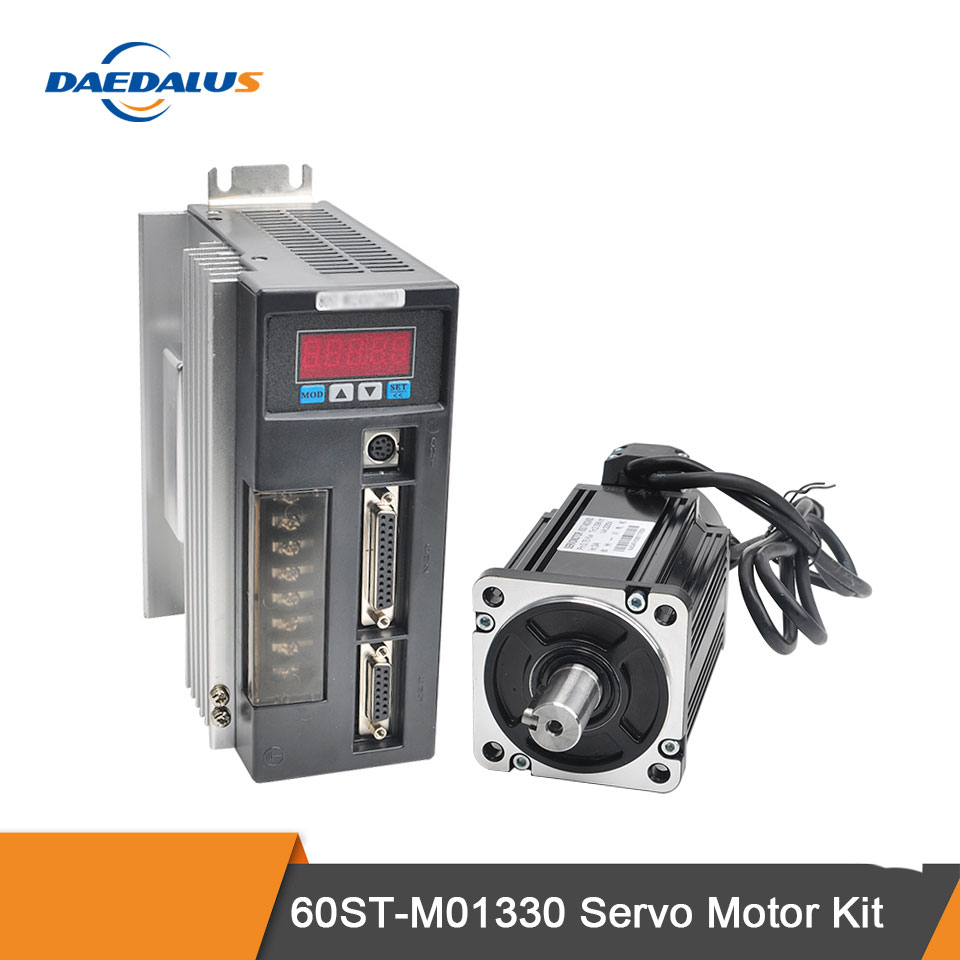 60ST-M01330 AC Servo Motor Kit Single Phase Servo Motor 400W 220V 1.27N.m AC Motor Matched Drive With 3M Encoder Cable