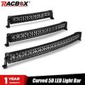 RACBOX 5D 22 32 42 pouces barre de lumière à LED incurvée 200W 300W 400W Combo faisceau noir lentille LED lumière de travail DRL pour tout terrain ATV SUV 12V 24V