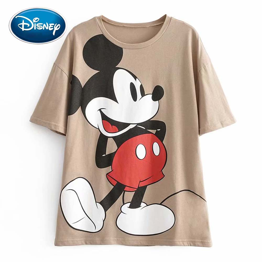 Disney Cute Mickey Mouse Cartoon Print Chic T-Shirt O-Neck Pullover Short Sleeve Casual Fashion Women Loose Khaki Tee Tops