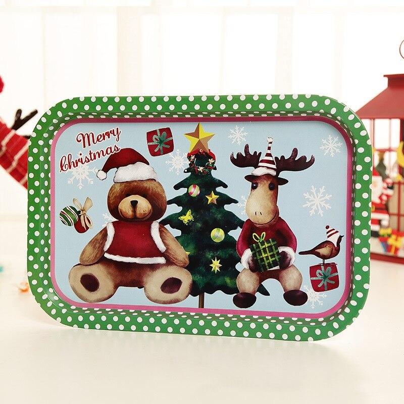 Рождественский жесть декоративный поднос для хранения пищи сервировочная тарелка Фруктовница праздничный Домашний Органайзер украшения