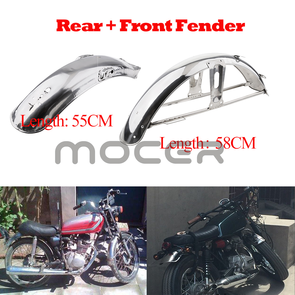 2pcs 58cm Front + 55cm Rear Back Splash Guard Mud Flap For Honda CG 125 - Stainless Steel