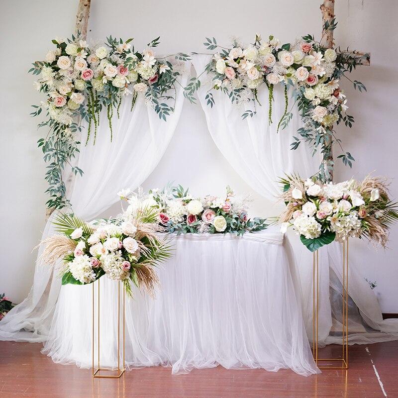Wedding Background Set Pink Floral Arch Triangle Flower Row Decorative Flowers Artificial Flowers Arrangement