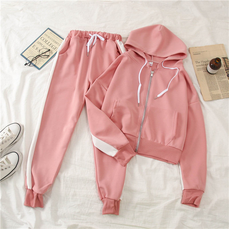 Fdfklak New Spring Autumn Korean Students Tracksuit Loose Casual Suit Pants Female Net Red Fashion Sportswear Two Piece Set