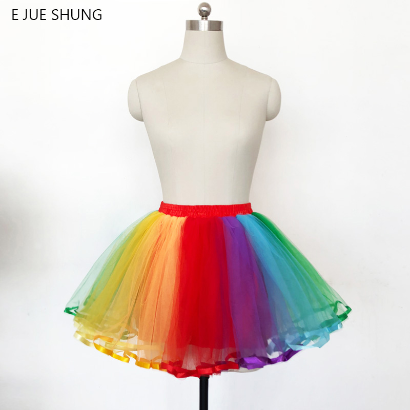 E JUE SHUNG Rainbow Colorful Underskirt Short Dress Petticoat Lolita Cosplay Tutu Short Skirt Rockabilly Crinoline
