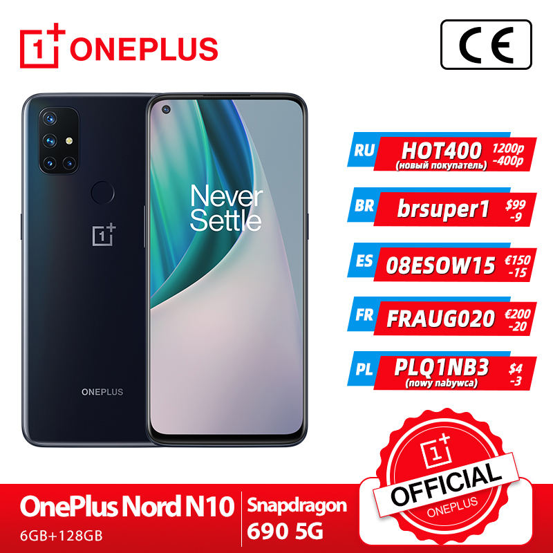 World Premiere Global Version OnePlus Nord N10 5G 6GB 128GB Snapdragon 690 Smartphone 90Hz Display 64MP Quad Cams Warp 30T NFC|Cellphones| - AliExpress