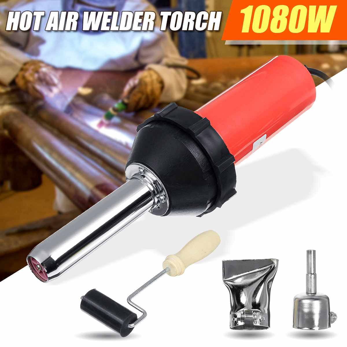 1080W Plastic Hot Air Welding Tool Welder Torch 2pcs Nozzles Roller Adapter UK