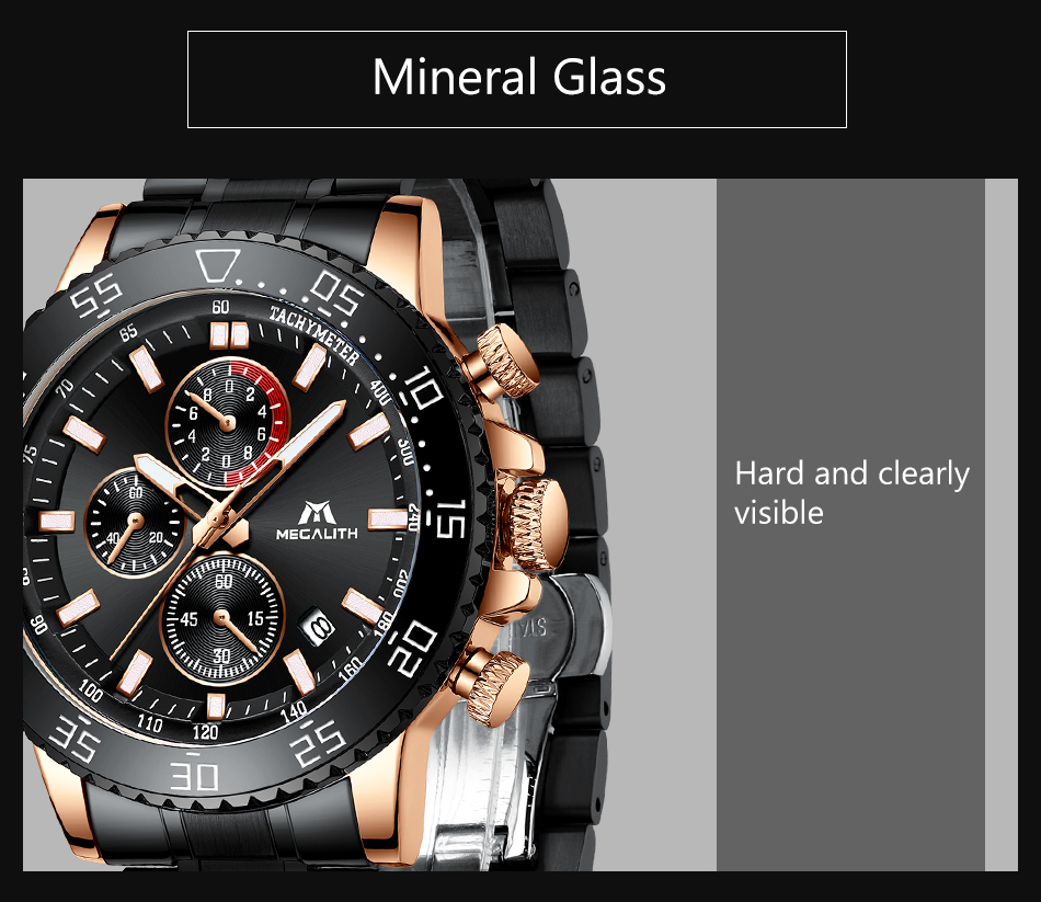 Hccb19f685c16486983b5fa39c884d01aC MEGALITH Military Watches Men Stainless Steel Band Waterproof Quartz Wristwatch Chronograph Clock Male Fashion Sports Watch 8087