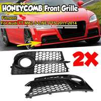 2x Car Front Fog Light Grill Lamp Cover Honeycomb Hex Grille For Audi TT MK2 S LINE TTS 2011 2014 8J0807681KT94 8J0807682KT94