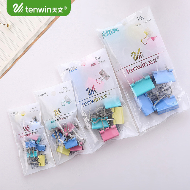 10 pcs/lot Kawaii Color Black 32/25/19/15mm Binder Clips Memo Paper Clips Picture Holder Cute Stationery Office Binding Supplies