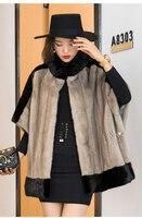 Winter women natural mink fur jacket female mink shawl bat sleeves coat stand collar cloak