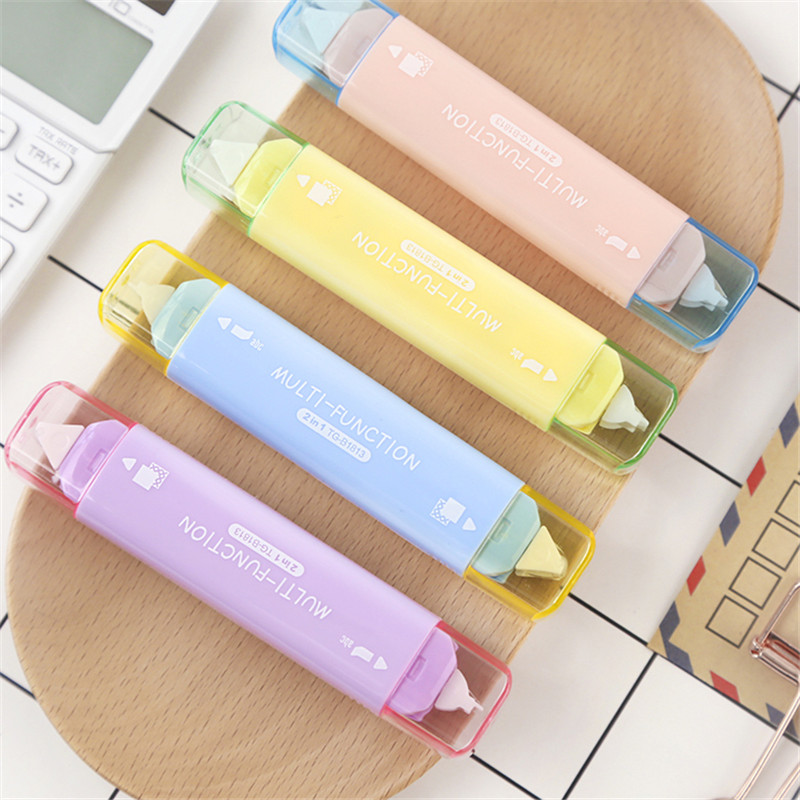 Creative Two In One Mini Double Head Correction Tape Adhesive Tape Punctiform Adhesive Glue Learning Stationery Kawaii