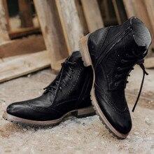Мужская кожаная Уличная Повседневная обувь на шнуровке на низком каблуке; высокие однотонные мужские байкерские ботинки с круглым носком; ботинки в байкерском стиле