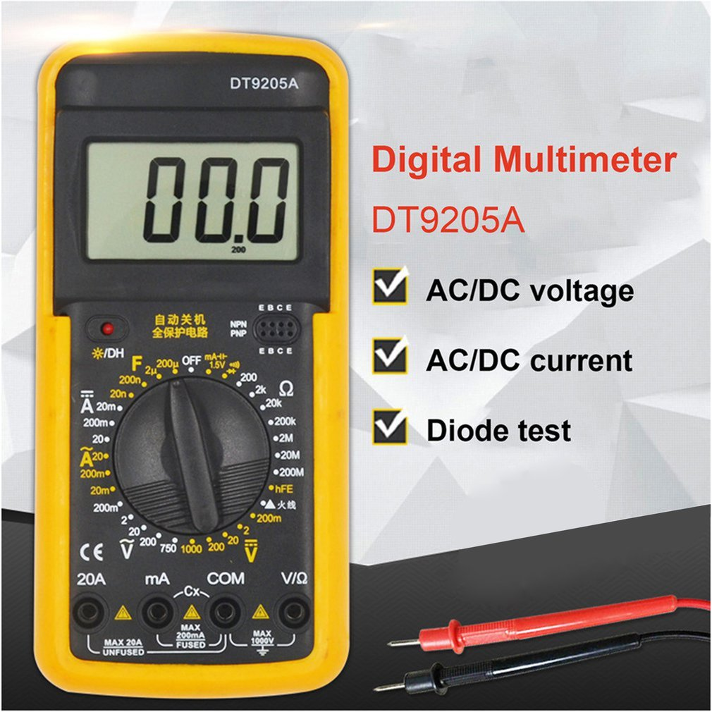 DT9205A Handheld Digital Multimeter 1999 Counts AC/DC Voltage Current Resistance Meter Capacitance Test Diode Tester