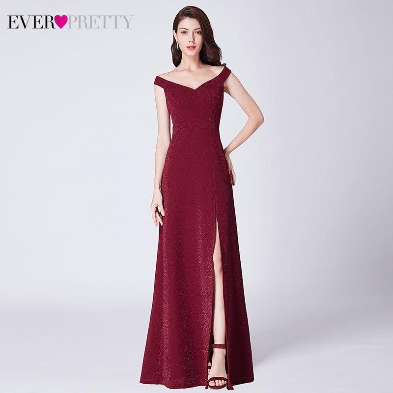 Ever Pretty Burgundy Prom Dresses A-Line Double V-Neck Sleeveless Side Split Elegant Formal Party Gowns Laurea Robe Adolescente