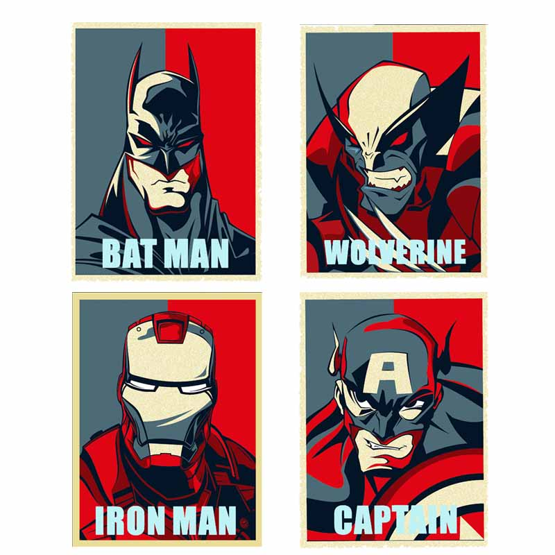 Superhero Captain America Iron-On Patches for Clothes DIY T-shirt Clothing Iron-man Batman Patch Thermal Transfer Vinyl Stickers