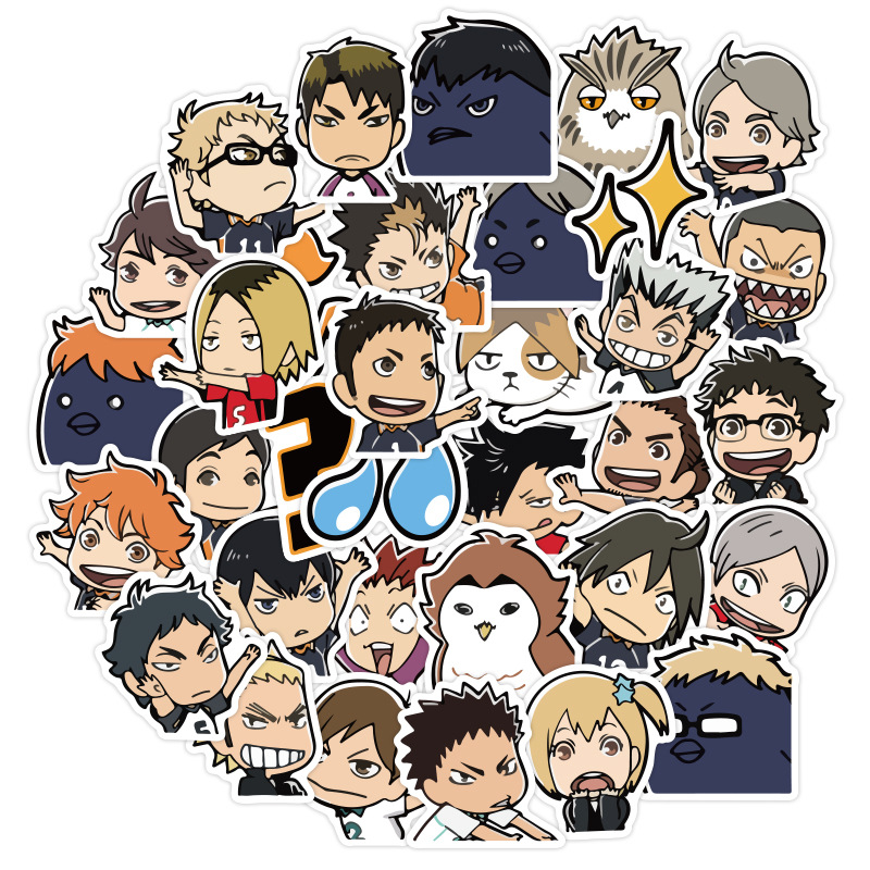 waterproof vinyl karasuno, aoba johsai, nekoma, fukurodani, shiratorizawa Haikyuu Anime Commercial Break Bubbles Stickers
