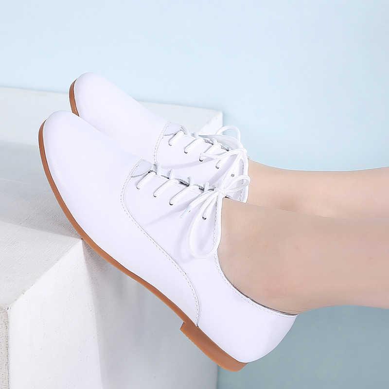 STQ kobiety płaskie buty damskie czarne buty damskie 2020 wiosna moda oryginalne skórzane buty dla matek zasznurować buty oksfordy w stylu casual 051