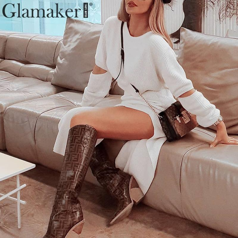 Glamaker-White-elegant-knitted-sweater-winter-dress-Women-hollow-out-two-piece-suit-midi-dress-Autumn (2)