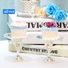 2 Piece Gold Silver Cake Stand Set Round Metal Cupcake Dessert Display Pedestal Wedding Party stand
