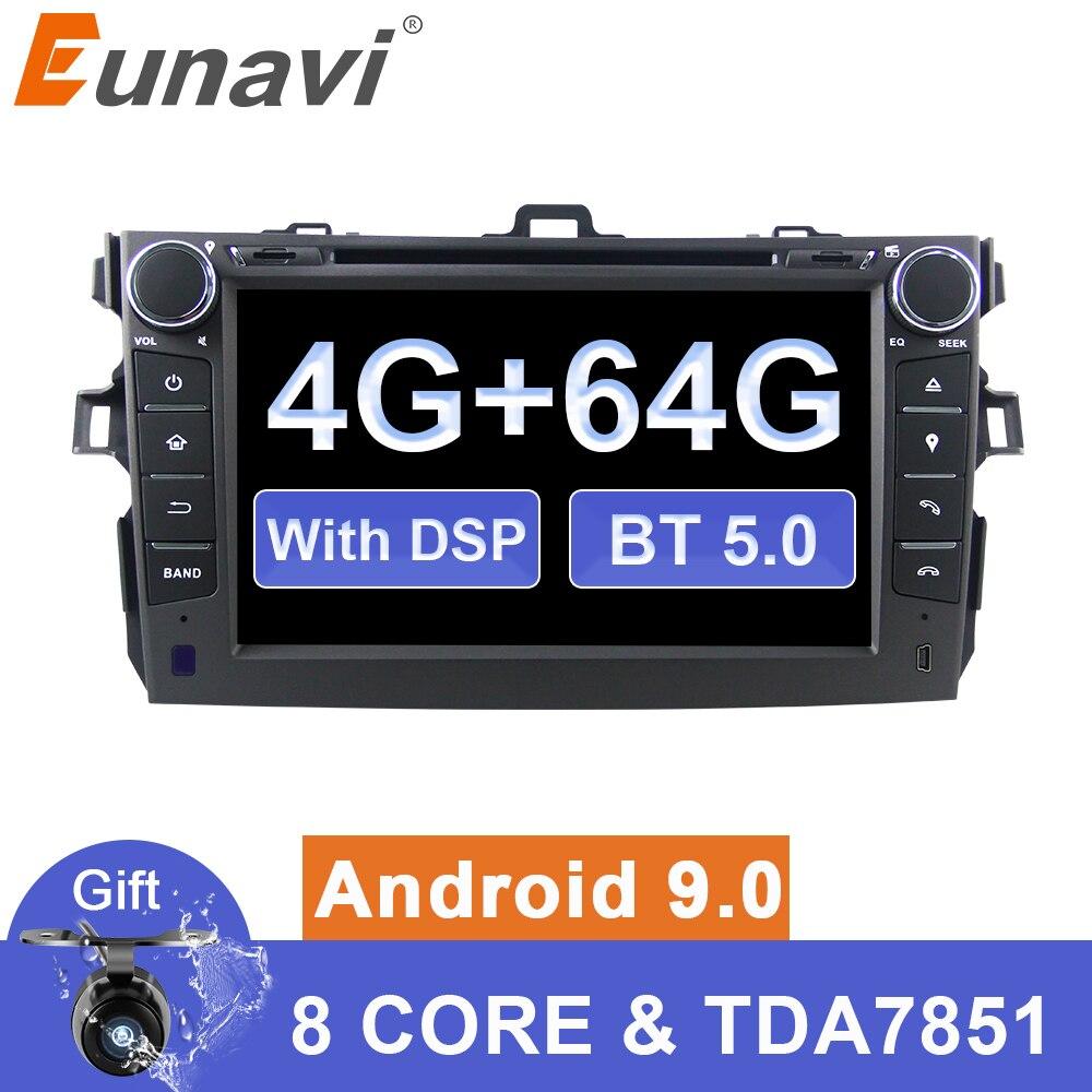 Eunavi 2 din автомобильный dvd Android 9 мультимедиа плеер для Защитные чехлы для сидений, сшитые специально для Toyota Corolla 2007 2008 2009 2010 2011 2din радио gps навиг...