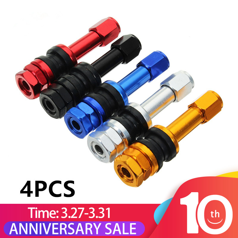 4Pcs Red/Gold/Blue/black/Sliver TR48E Bolt-in Auto Car Tubeless Wheel Tire Valve Stems Aluminum Alloy Dust Caps Black