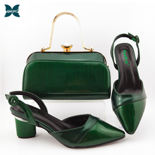Bag Shoes Mature-Style Nigerian High-Heels Italian-Design Green-Color And To Party