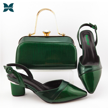 2020 Summer New Coming Italian design Green Color Shoes And Bag To Match Set Nigerian High Heels Party with Mature style