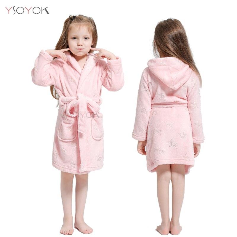Toddler Kid Boys Girls Flannel Hooded Bathrobes Kids Rainbow Unicorn Bath Robe Nightgown Pajamas Sleepwear Children Home Clothes