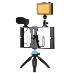 phone Vlogging Live Broadcast Selfie Light Video Rig Kits with Microphone + Tripod Mount + Cold Shoe Tripod Head for iPhone