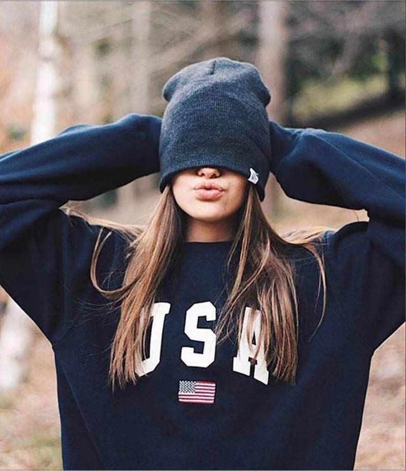 Imprimer Nouvelles Femmes Mode À Manches Longues À Capuche Sweat Harajuku Pull À Capuche Hauts Pullover Décontracté Lâche Blouse Blanche
